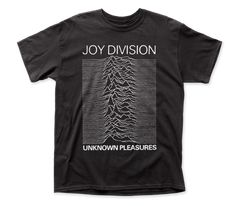 Joy Division Unknown Pleasures Traditional Fit Cotton Tee Black by DrasticPlasticMerch Joy Division, Unknown Pleasures, Graphic Artwork, Artwork Design, Bad To The Bone, Band Shirts, What To Pack, Order Prints, Cotton Tee