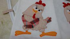 kit cozinha 3 peças, sendo avental, luva e pano de copa  tema galinha