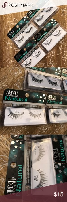 Ardell professional Natural 102 demi Black lashes Glamour lashes are perfect for any special occasion or a night out on the town. These most popular bold and sparkling lash styles are reusable, easy-to-apply and give the desired, glamorous look of long, beautiful lashes. STYLE:  Glamour SHAPE:  Small Eyes  Large Eyes  Almond Shaped Eyes.    (( 4 pack - new in box )) ardell Makeup False Eyelashes