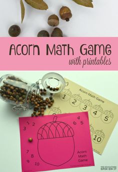 Acorn Math Game for Kids with Printables.  A playful hands-on way to  practice number recognition with acorns for kids.