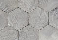 Atelier des Granges (French parquet) - Parquet floor hexagon. End grain wood blocks in oak. Gray leached finishing - #1014