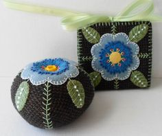 Handmade Felted Wool Blue Blossom Tweed Pin Cushion & Needle Book - 2 3/8 H x 3 1/2 W. Needle Book is 4 square - 4 x 8 opened Felted wool