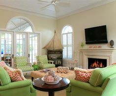Lime Green Couch Design Ideas, Pictures, Remodel, and Decor Living Room Green, Green Rooms, Living Room Decor, Living Rooms, Living Spaces, White Wood Paneling, Couch Design, Living Room Pictures, Family Room
