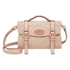 Mulberry Alexa Pebbled Beige Large Silky Snake Print