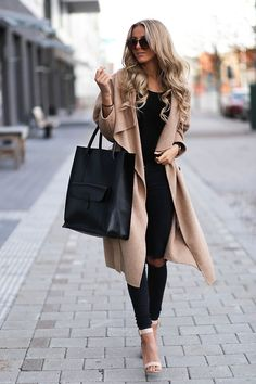 Obsessed with this long nude coat and the large tote, but do without the strappy heels and go with a closed toe  pump.