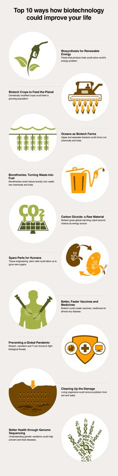 TOP 10: Top 10 ways Biotechnology could improve your life: Experts on the World Economic Forum's Council on Biotechnology have selected 10 developments in biotechnology which they believe could help meet the rapidly growing demand for energy, food and healthcare. Read more at http://wef.ch/biotech10
