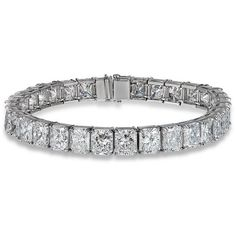 Stunning Radiant Cut Diamond Tennis Bracelet in Platinum (30.97 CTW) ❤ liked on Polyvore featuring jewelry, bracelets, tennis bracelet, platinum jewellery, pandora jewelry, platinum bangle and pandora bracelet