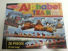 Melissa-and-Doug-Alphabet-Train-Floor-Puzzle-28-Piece-10-Feet-Long-Animal-EUC