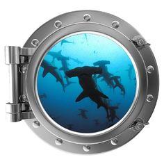 "12"" Port Scape Instant Sea Porthole Window Shark #2 Wall Sticker Graphic Decal Kids Game Room Decor Art Cling NEW Stickit Graphix http://www.amazon.com/dp/B00E6ZSJQM/ref=cm_sw_r_pi_dp_ZNKdub12288Z4"