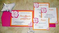 Pink and Orange destination or tropical themed wedding invitation suite by Ayleigh Designs