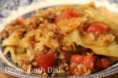 An unstuffed casserole form of all the ingredients you love in stuffed cabbage, Cabbage Patch Casserole is made with a layer of cabbage, topped with a blend of veggies, tomato, rice and sausage or beef, finished, if you like, with a layer of shredded cheese. Perfect for cabbage lovers!