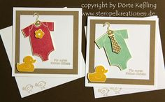 pair of baby cards from www.Stempelkreationen.de .. onesies ... cute matching stamps on envelope ...