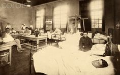HOSPITAL:  Wounded soldiers in a National Geographic sponsored hospital ward Date Photographed: July 01, 1918