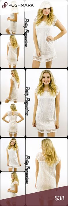 """NWT White Lace Crochet Pom Pom Trim Dress NWT White Lace Crochet Dress  Available in sizes S, M, L Measurements taken from a size small  Length: 34"""" Bust: 36"""" Waist: 34""""  Cotton/Nylon   Features  • full lace crochet body • small keyhole at back of neck • cap sleeve • lined  Bundle discounts available  No pp or trades  Item # 1/201280380WLD white lace pom pom Pretty Persuasions Dresses"""
