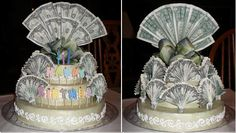 Money Cake....made for a 70th birthday gift.  Cake made from styrofoam, scrapbooking paper, stickers and 70 new one dollar bills