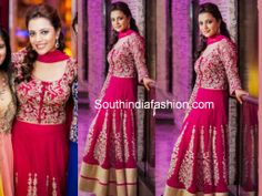 For her Sangeet function, Nisha Aggarwal picked a beautiful pink anarkali suit by SVA. She looked gorgeous in this simple pink semi georgette anarkali with dori embroidery.