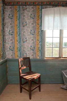 Bommars Scandinavian Furniture, Scandinavian Design, Swedish Wallpaper, Stenciled Floor, Paint Chips, Tapestries, Wall Hangings, Folk Art, Stencils
