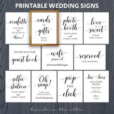Wedding signs printable package set bundle pack of sign for wedding reception event diy reserved confetti wifi oh snap DIGITAL by HandsInTheAttic Wedding Centerpieces, Wedding Favors, Wedding Decorations, Wedding Day, Trendy Wedding, Dream Wedding, Wedding Reception Signs, Summer Wedding, Reception Ideas