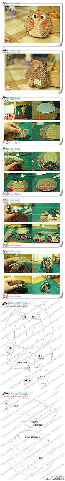 Fabric owl purse, absolutely adorable turn; directly on the map, buy ...