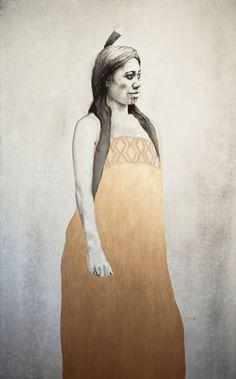 Hine-titama - Maori goddess painting with moko kauae by Sofia Minson Star Goddess, New Zealand Art, Nz Art, Maori Art, Mirror Art, Bone Carving, Egyptian Art, Mythical Creatures, Portrait