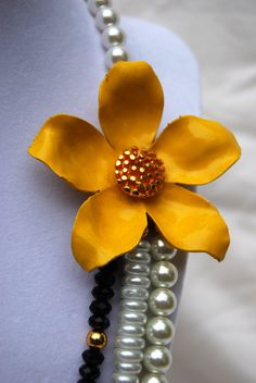 La Fleur Jaune  Necklace with Vintage Yellow by SarahBelleJewelry, $65.00