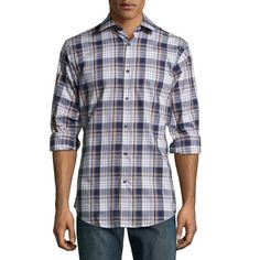 Neiman MarcusTrim-Fit Plaid Sport Shirt, Navy / TanDetailsNeiman Marcus oxford sport shirt in two-tone plaid. Spread collar; button front. Long sleeves with mitered cuffs. Yoked back with center pleat. Patch pocket at left chest. Trim fit. Shirttail hem. Cotton; machine wash. Imported.