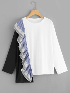 SHEIN offers Color Block Ruffle Tee & more to fit your fashionable needs. Fashion 2020, Trendy Fashion, Hijab Fashion, Fashion Dresses, Hijab Outfit, Diy Clothes, Blouse Designs, Shirt Blouses, Blouses For Women