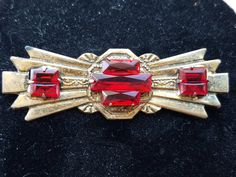 Excited to share the latest addition to my #etsy shop: Brass Brooch Red Garnet Glass http://etsy.me/2ANk6bb #jewelry #brooch #bronze #red #no #garnet #women #brass #antiquebrooches