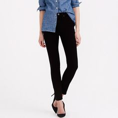 """Our toothpick skinny + a higher rise = nipped waist, great stretch and legs for miles—even without heels. Add in the fact that this pair is made from premium Turkish cotton with serious slimming power and you have one major pair of jeans. <ul><li>Sits above hip.</li><li>Fitted through hip and thigh, with a superskinny leg.</li><li>Front rise: 10"""".</li><li>32"""" inseam.</li><li>10 1/4"""" leg opening (based off size 28).</li><li>Cotton/poly with stretch.</li><li>Traditional 5-pocket…"""