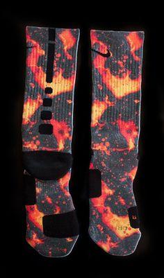 Lebron X - Lavas - Custom Nike Elite Socks Nike Elite Socks, Nike Socks, Sport Socks, Crazy Socks, Cool Socks, Awesome Socks, Nike Free Shoes, Nike Shoes Outlet, Basketball Socks