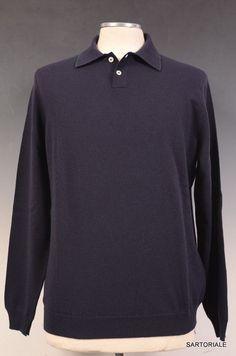 "KITON ""CIPA"" Blue Merino ""Superfine 160"" Wool Polo Sweater 50 NEW M NEW"
