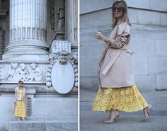 YELLOW LACE DRESS IN PARIS Street style with nude stilettos and nude coat by fashion blogger Monica Sors
