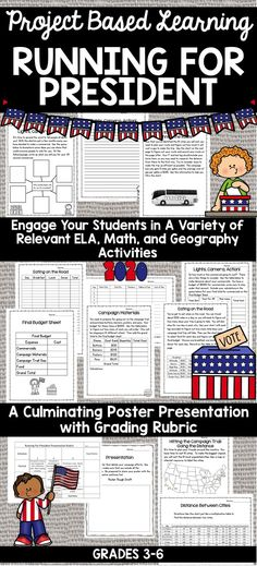 This engaging Project Based Learning activity is perfect for students to practice a variety of skills in math, ELA, geography, and creativity.  Students go through many budgeting aspects of running for president as well as logistics of planning a campaign.  Writing and geography activities as well as a culminating poster presentation are also included Elementary Teacher, Upper Elementary, Teacher Pay Teachers, Elementary Schools, Teaching Learning Material, Project Based Learning, Geography Activities, Learning Activities, Budget Sheets