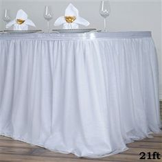 White 3 Layer Tulle Tutu Pleated Table Skirt With Satin Attachment For Wedding Party Event - ChairCoverFactory Tulle Table Skirt, Tutu Table, Table Skirts, Tablecloths For Sale, Table Overlays, Banquet Tables, Winter Wonderland Wedding, Tulle Tutu, Tulle Wedding