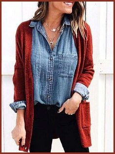 New Burgundy Pockets V-neck Long Sleeve Casual Cardigan Sweater New B. - Jinx Kitchen - New Burgundy Pockets V-neck Long Sleeve Casual Cardigan Sweater New B. New Burgundy Pockets V-neck Long Sleeve Casual Cardigan Sweater New Burgundy Pockets V-ne Mode Chic, Mode Style, Mode Outfits, Casual Outfits, Old Navy Outfits, Long Sweater Outfits, Blue Jean Outfits, Long Sleeve Outfits, Vest Outfits