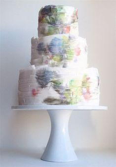Ruffled watercolor cake designed by Maggie Austin