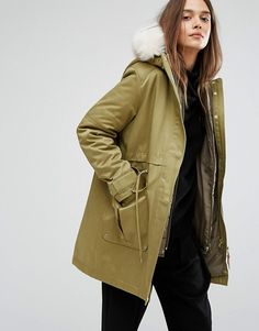 Parka London | Parka London Kay Parka with Inner Detachable Bomber Jacket and Fur Trim on Hood