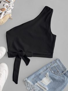 One Shoulder Knotted Crop Tank Top - Black M Girls Fashion Clothes, Teen Fashion Outfits, Girl Fashion, Girl Outfits, Fashion Dresses, Emo Outfits, Grunge Outfits, Punk Fashion, Lolita Fashion