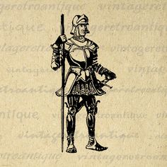 Printable Graphic Medieval Knight Download Illustration