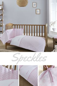 Freshen up your baby girls' nursery with the beautifully subtle, pink Speckles quilt and bumper set. Suitable for cots, cot beds and toddler beds and features a delicate, dandelion inspired print on 100% Cotton fabric. Just stunning!