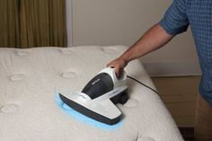Verilux CleanWave Portable Sanitizing Vacuum / The Verilux CleanWave Portable Sanitizing Vacuum keeps your mattress covers and bathroom floors clean and free of germs, residue and other nastiness. http://thegadgetflow.com/portfolio/verilux-cleanwave-portable-sanitizing-vacuum/