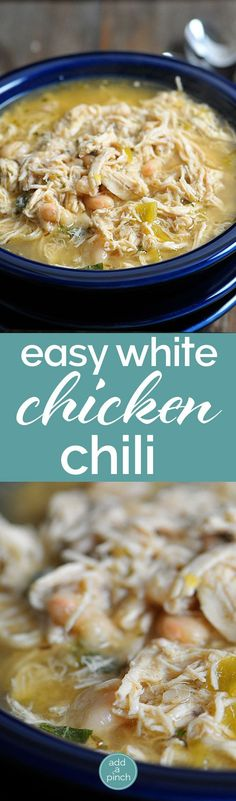 White Chicken Chili makes a delicious meal full of spicy chili flavor, white beans and chicken. You'll love this easy White Chicken Chili recipe. Chicken And Beans Recipe, Chicken Chili Recipes, White Chicken Chilli Crockpot, White Chicken Chile Recipe, Chicken Leftover Recipes Healthy, Leftover Roast Chicken, Easy Chicken Tortilla Soup, Recipes For Rotisserie Chicken, Crockpot Chicken And Dressing