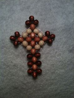 beaded wood cross right angle weave stitch RAW