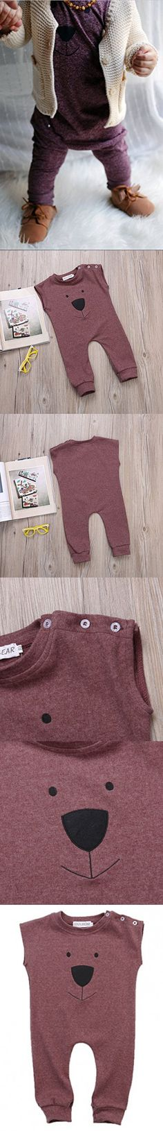 Ma&Baby Infant Baby Girl Boys Bear Jumpsuit Animal Cotton Romper Toddler Clothes (0-6 Months, Wine red)