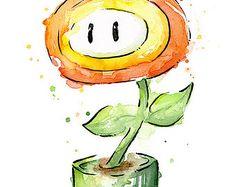 Mario Boo Ghost Watercolor Eyes Closed Mario Wall Art Nintendo
