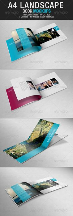 Download A4 Landscape Book Mockups Graphics Files Included: Photoshop PSD    http://graphic.indexaz.com/