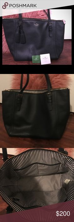 Kate Spade Tote Handbag Excellent Condition Kate Spade Tote Handbag for Sale 🌵. The tag Says Orchard Streer in the color Black 🌵 comes with original tag and Care Card 🌵. Originally purchased from Nordstrom 🌵Measures 15 inches wide by 11 inches tall 🌵 Black Leather with Gold Hardware 🌵 Inside is black and white pin stripe 🌵 Make an offer today kate spade Bags Totes