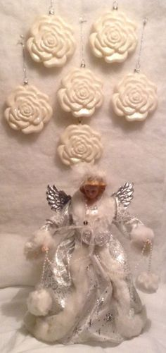 Victorian Angel Christmas Tree Topper   6 Blowmold Roses Christmas Ornaments  #Victorian