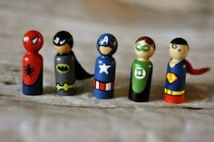 My son now really caught the super hero bug, he is all about dressing up in super hero costumes - he has a green lantern and a batman costu. Wood Peg Dolls, Wood Toys, Clothespin Dolls, Spiderman, Batman, Doll Crafts, Diy Doll, Superhero Costumes Kids, Wooden People