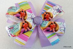 Rapunzel Tangled Disney Princess Grosgrain Bow, Ribbon Hair Clip, Girls Barrette, Orchid Lavender Purple Sparkly Pastel Stripes Present Gift by SmoreCrafty on Etsy